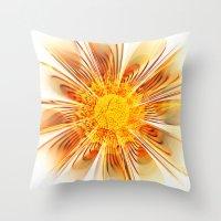 Summer Fractal Flower Throw Pillow