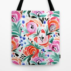 Tropical Sunrise Morning Glory Boho Watercolor Floral Tote Bag