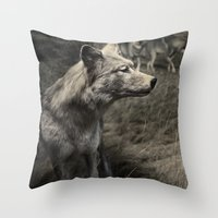 Tom Feiler Wolf Throw Pillow