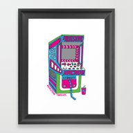 Framed Art Print featuring Awesome Arcade by Julie Pinzur