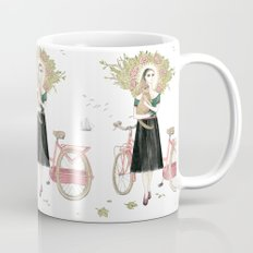 Girl and cat with pink bicycle Mug