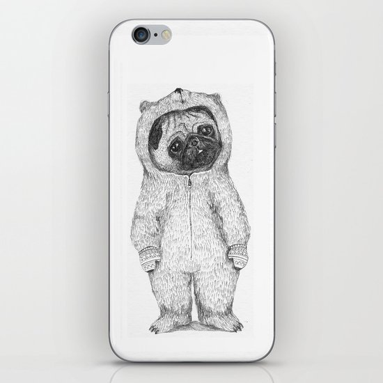 Winter pug iPhone & iPod Skin