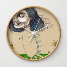 DINOSAUR GIRL Wall Clock