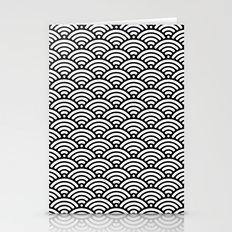 Black White Waves Stationery Cards