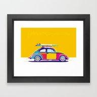 Beetle Pop Yellow Framed Art Print