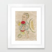melon, watermelon and lemon Framed Art Print