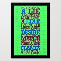 lyrics Art Prints featuring Lyrics by lynneataylor