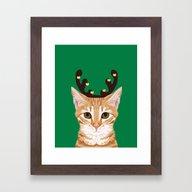 Tabby Cat Reindeer Costu… Framed Art Print