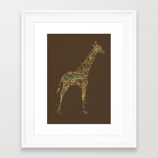 Electric Giraffe Framed Art Print