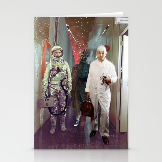 Space Check Collage Stationery Card