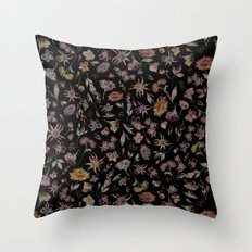 Botanical Study- Dark Colorway Throw Pillow