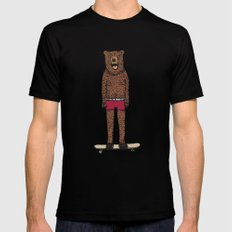 Bear + Skateboard Mens Fitted Tee Black SMALL