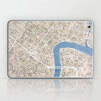 New Orleans Cobblestone Watercolor Map Laptop & iPad Skin