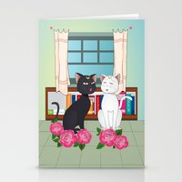 anime Stationery Cards featuring Anime Cats by MyimagesArt