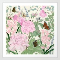 Pink flowers and butterflies Art Print