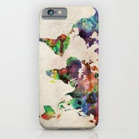 world map iPhone & iPod Cases featuring World Map Urban Watercolor by artPause