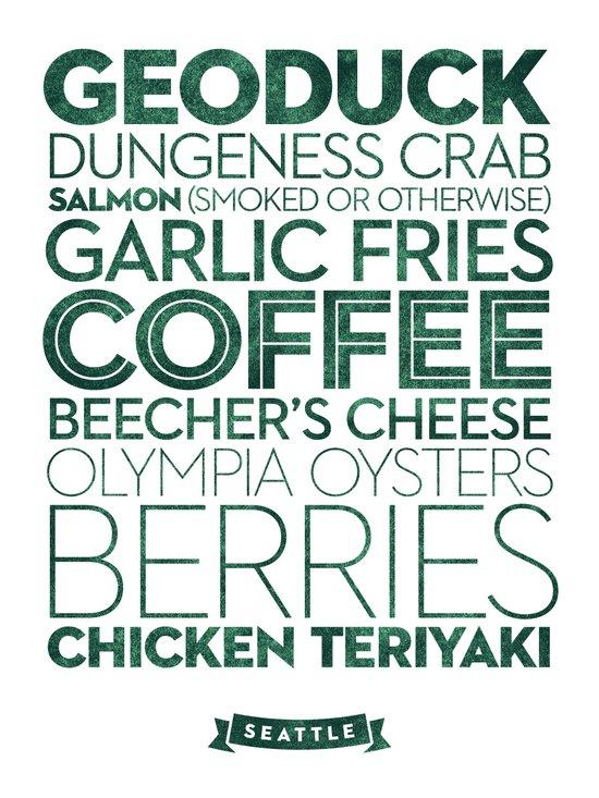 Seattle — Delicious City Prints Art Print