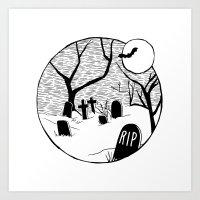 Halloween Graveyard Art Print