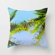 Palm Trees Tropical Photography Throw Pillow