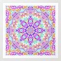 Pink, Orange, Purple, and Cyan Kaleidoscope Art Print