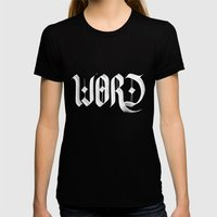 word Womens Fitted Tee Black SMALL