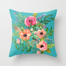 Boho Floral Throw Pillow