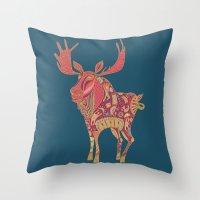 Purple Moose Throw Pillow