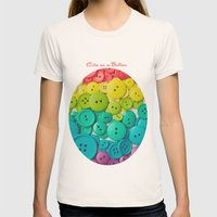 Cute as a button Womens Fitted Tee Natural SMALL