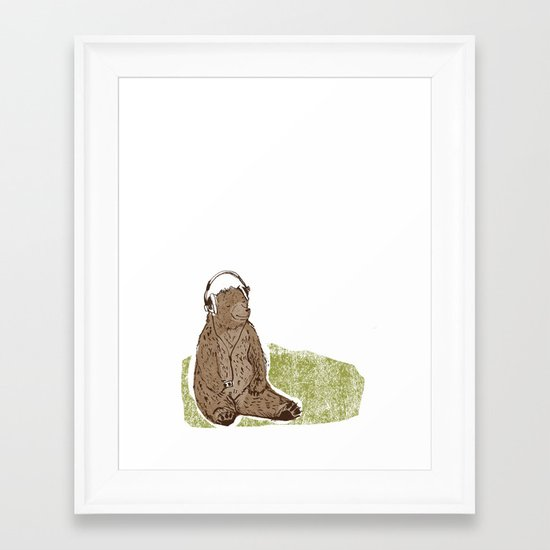 Headphone Bear Framed Art Print