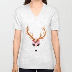 The Deer Head Skull   Unisex V-Neck