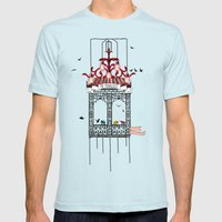 travelling with elephants Mens Fitted Tee Light Blue SMALL