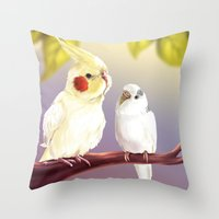 Budgie and Cockatiel Throw Pillow