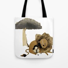 Reading To Lions Tote Bag