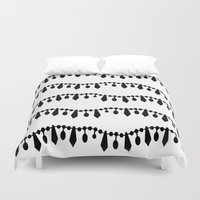 Vintage Beads Black On W… Duvet Cover