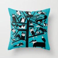 ANIMAL TREE AQUA Throw Pillow