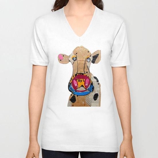 cow frazer V-neck T-shirt