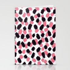 Bella - Pink and Black Brushstroke Pattern Stationery Cards