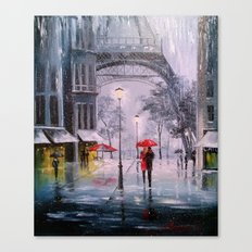 the first snow in Paris Canvas Print