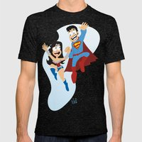 Couple Dressed As Heroes… Mens Fitted Tee Tri-Black SMALL