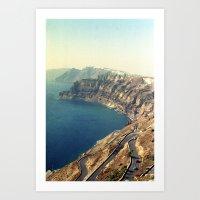 The insane roads of Santorini Art Print