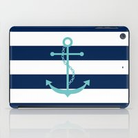 Aqua Anchor Shape on Wide Stripes Pattern iPad Case