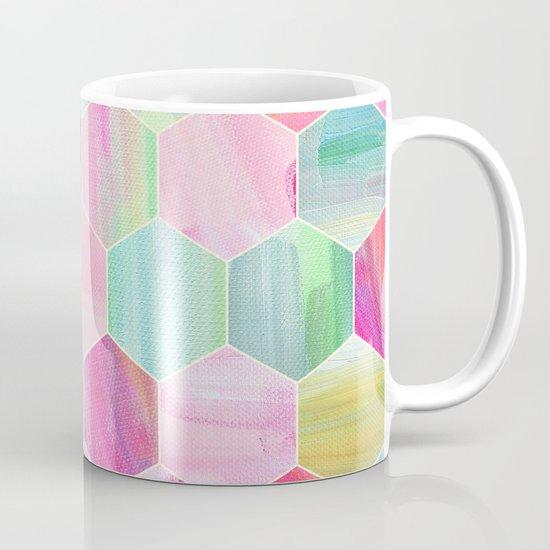 Pretty Pastel Hexagon Pattern in Oil Paint Mug