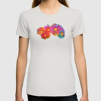 Bright Sketch Flowers Womens Fitted Tee Silver SMALL