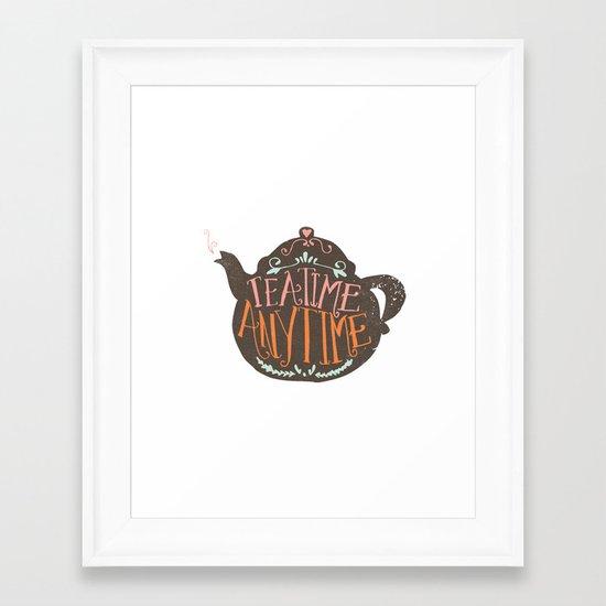 TEA TIME. ANY TIME. - color Framed Art Print