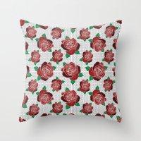 rose & dots pattern Throw Pillow