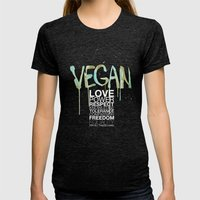VEGAN Womens Fitted Tee Tri-Black SMALL