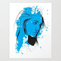 Black, Blue & White II Art Print