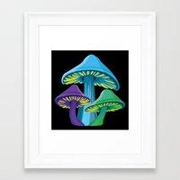 Alice's Shrooms - Dark Framed Art Print