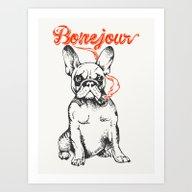Art Print featuring Bonejour Bulldog by Huebucket
