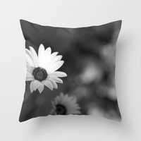 White Flowers Throw Pillow